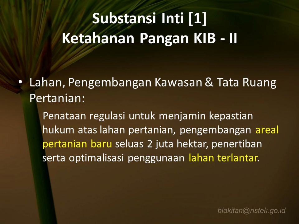 Substansi Inti [1] Ketahanan Pangan KIB - II